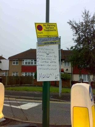 Worcester Park council warning sign littered with spelling mistakes