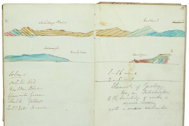 Inside one of the notebooks of Sir Charles Lyell, which campaigners want to keep in the UK