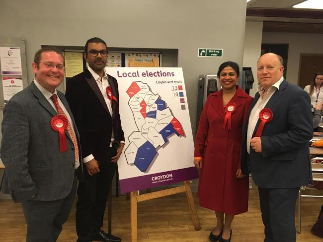 Cllr Chris Clark, Niroshan Sirisena, Cllr Mary Croos and Cllr Tony Newman on election night in May 2018. Credit: Tara O\'Connor. Free for use by all BBC wire partners.