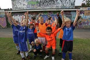 What a result: Kew Park Rangers youngsters celebrate the start of works