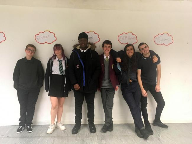 Members of Wandsworth Youth Council. From left to right: Keaton, Maisy Rimmer, Athan, Jaimie, Sam Phillips, Conor Hughes. Credit - LDR Sian Bayley. Free for use by partners of BBC news wire service.