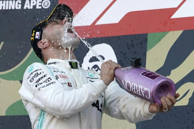 Valtteri Bottas celebrates his win in the Japanese Grand Prix