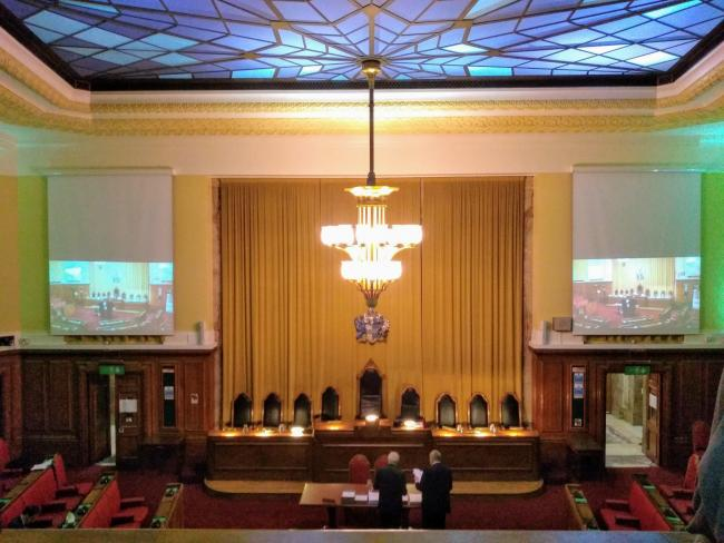 Inside the chamber before Wandsworth\'s full council meeting. Credit - LDR Sian Bayley. Free for use by partners of BBC news wire service.