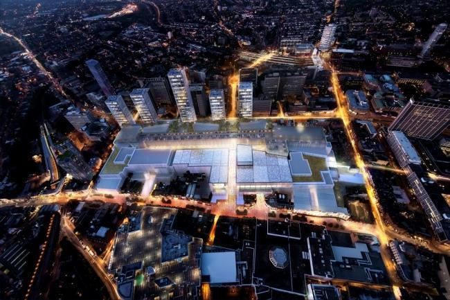 Birds eye CGI of the Croydon Westfield development