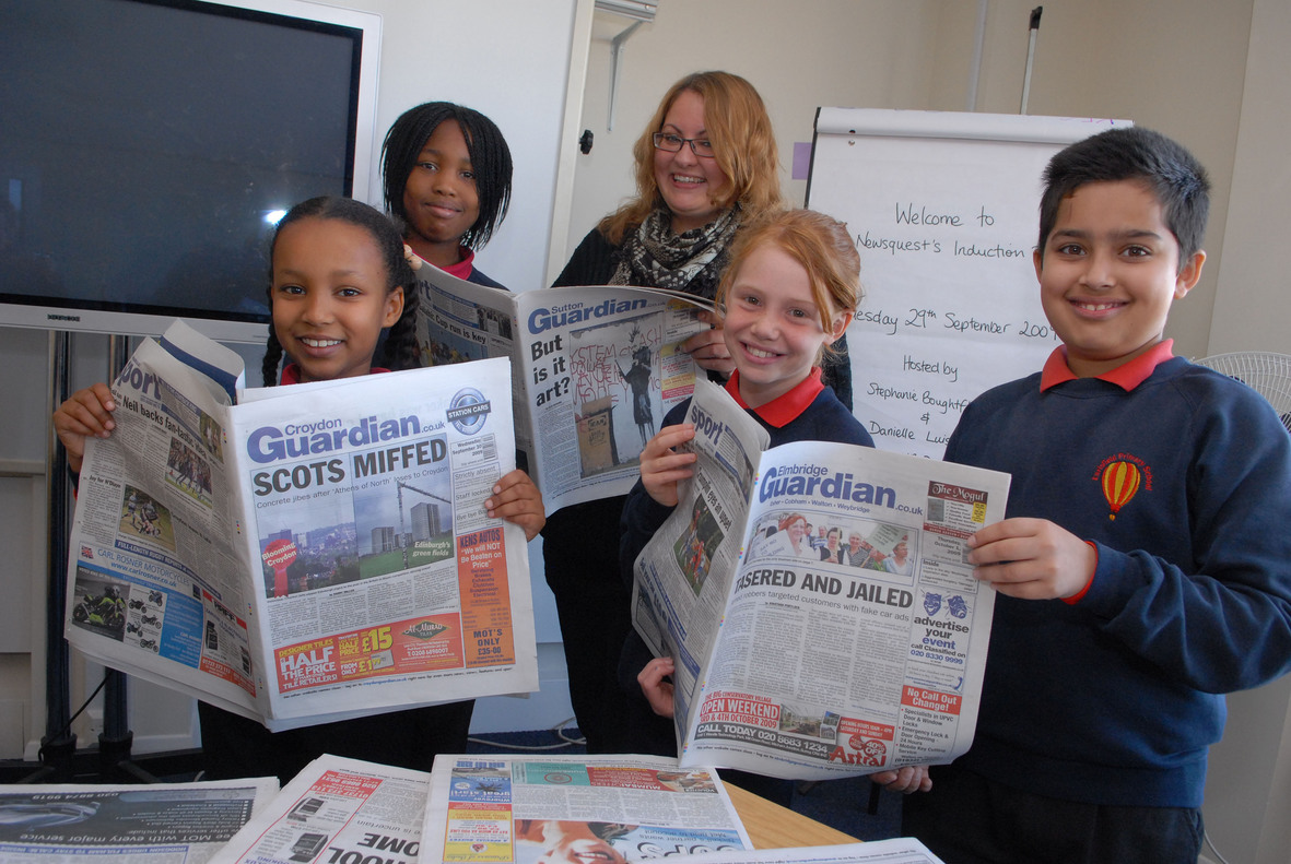 Wandsworth Guardian editor Kerry McQueeney with the Earlsfield Primary team