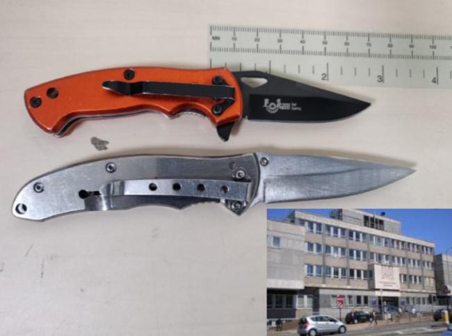 The knives found by police