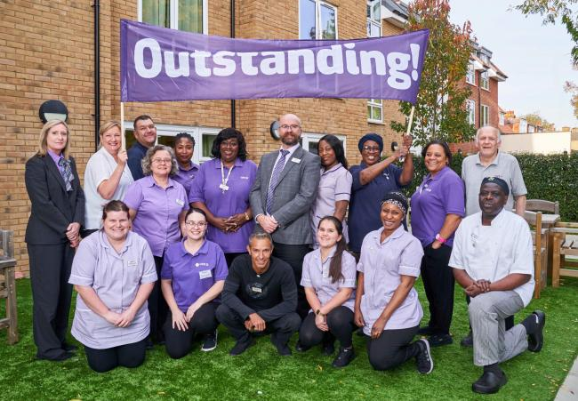 © Licensed to simonjacobs.com. Kingston, UK. Staff at Care UK's Sherwood Grange care home celebrate their ' Outstanding' CQC award. Image: Simon Jacob