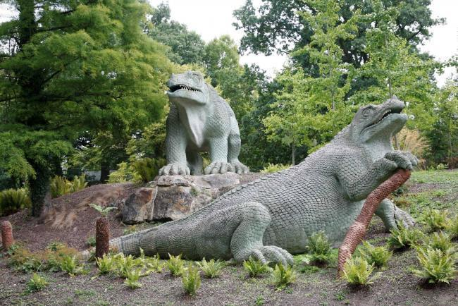 Crystal Palace Park\'s famous dinosaurs.