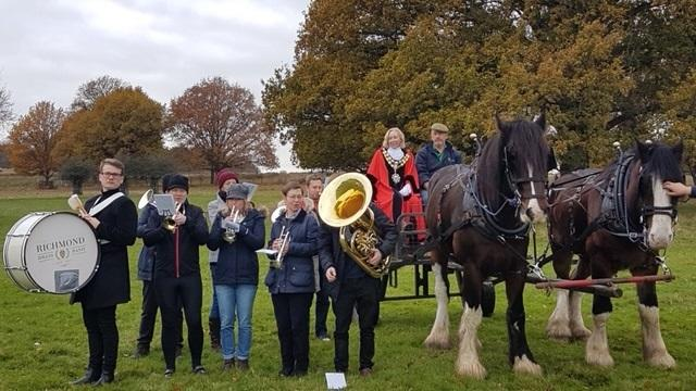 Photo credited to Andrew Rogers. Members of the NYDP Committee practising with the band, Mayor of Richmond and horses.