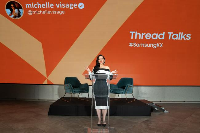 Ru Paul star Michelle Visage hosted her Thread Talks performance at Samsung KX, the technology firm's new experience space in Coal Drops Yard, King's Cross, London