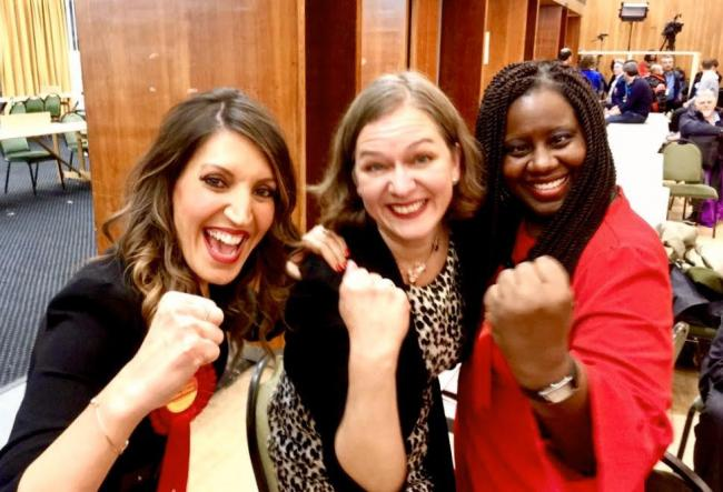 Rosena Allin-Khan, Fleur Anderson and Marsha de Cordova, who all won their seats for Labour in Wandsworth tonight. Credit - Wandsworth Labour/Simon Hogg.