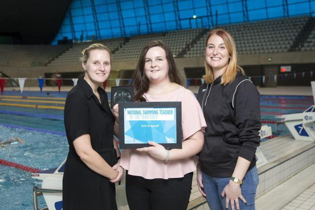 Judge Kayle Brightwell from the Swimming Teachers Association, Erin Ridgwell – Winner of the Swimming Teacher of the Year Award and Judge Stephanie Proud from Speedo at the London Aquatics Centre. Picture: Steve Bainbridge