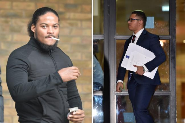 Marlon Wright and Grenadier Guard Kristopher James-Merrill outside Kingston Crown Court