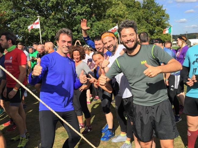 Tom Brake (left) after a Tough Mudder in 2018 for Sutton Mental Health Foundation. Credit: Tom Brake. Free for use by all BBC wire partners.