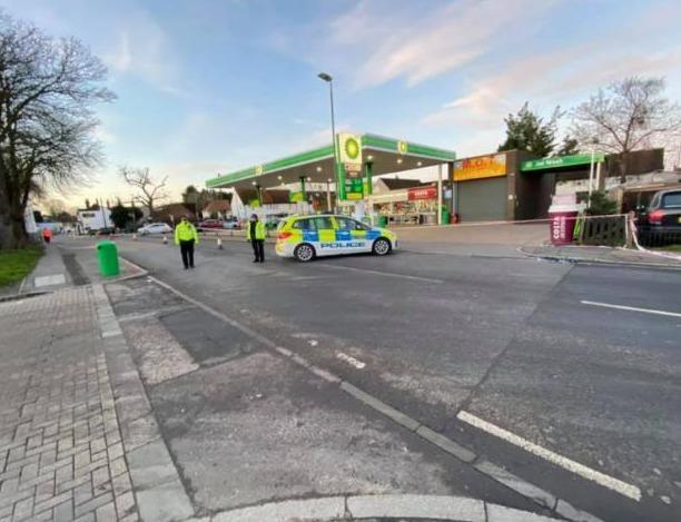 Pictures taken by Graham Fox show police at the scene outside the BP service station.