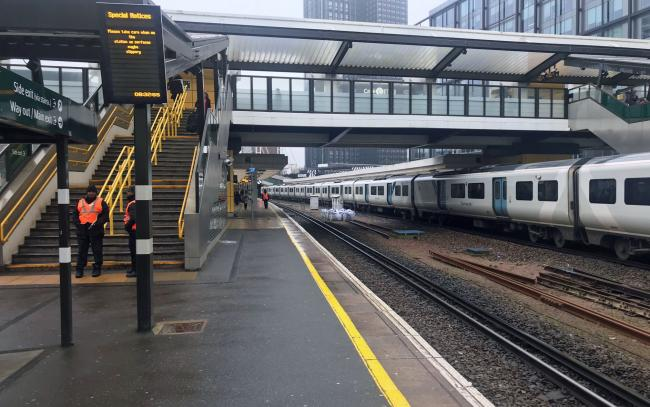 An empty platform at East Croydon station on the day that emergency legislation to tackle the coronavirus outbreak will be published in Parliament. PA Photo. Picture date: Thursday March 19, 2020. See PA story HEALTH Coronavirus. Photo credit should read: