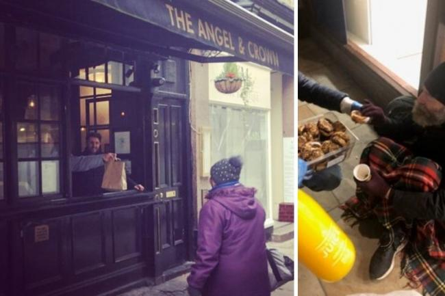 The Angel & Crown team has been serving hot food to the homeless each day during the coronavirus lockdown