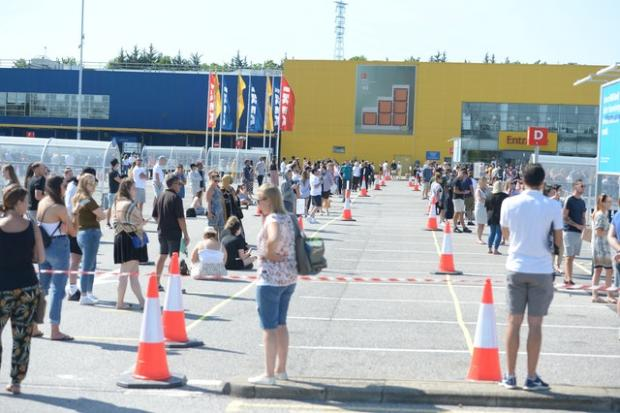 Your Local Guardian: Customers queued two metres apart to get inside Ikea in Lakeside, Essex. Picture: Nick Ansell/PA Wire