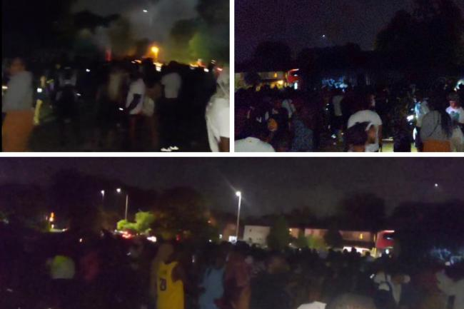 Pictures show hundreds of people at Mitcham rave