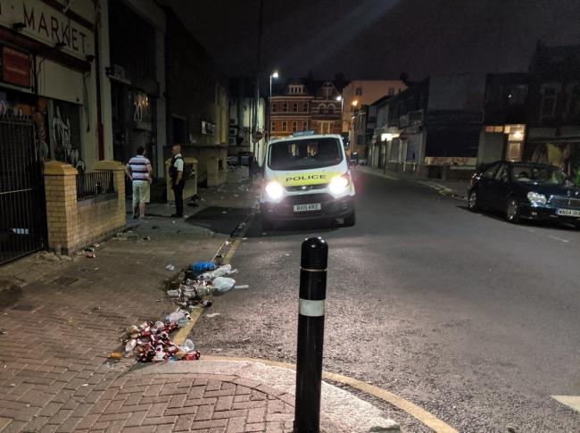Image posted to Twitter by Tooting Met Police shows aftermath of 'Super Saturday'  as pubs and restaurants reopened on July 4 amid the ongoing coronavirus pandemic.