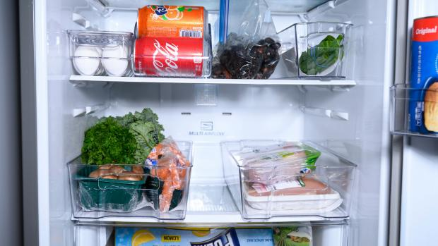 Your Local Guardian: Use an organising set to create more storage zones in your fridge. Credit: Reviewed / Betsey Goldwasser