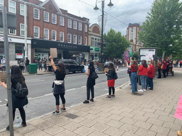 Your Local Guardian: Socially distanced protesters line New Malden High Street in support of Black Lives Matter. Image: Henry Riley