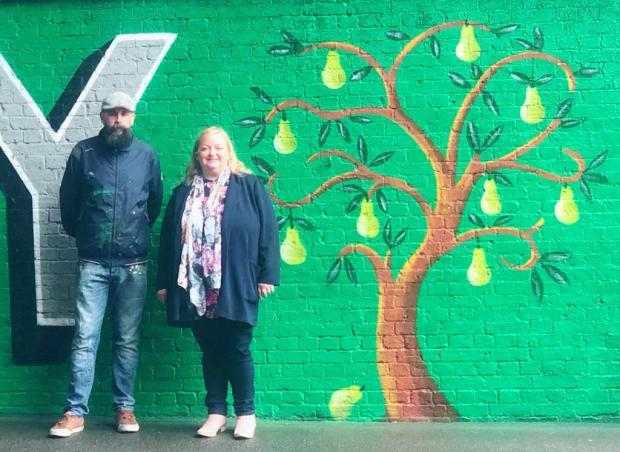 Your Local Guardian: Lionel Stanhope and Catherine Garrad with the newly unveiled mural.