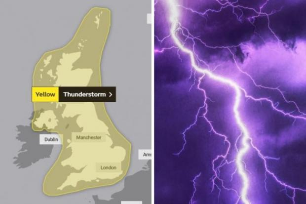 Your Local Guardian: The Met Office said the south east would experience thunderstorms between Wednesday and Thursday