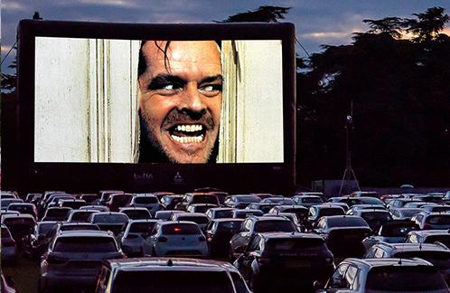 Your Local Guardian: Jack Nicholson in Stanley Kubrick's 'The Shining' is shown at the Luna Park drive-in cinema.