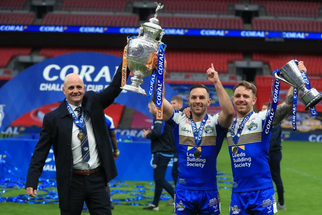 Leeds head coach Richard Agar (left) and Luke Gale (centre) pose with the Challenge Cup trophy