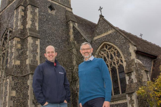 (Left to right) James Hills (Vicar) and Peter Brown (Debt Centre Manager) outside Holy Trinity Wallington