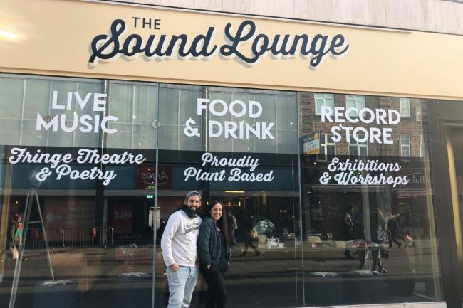 Co-founders Hannah and Kieran pictured outside Sound Lounge Sutton