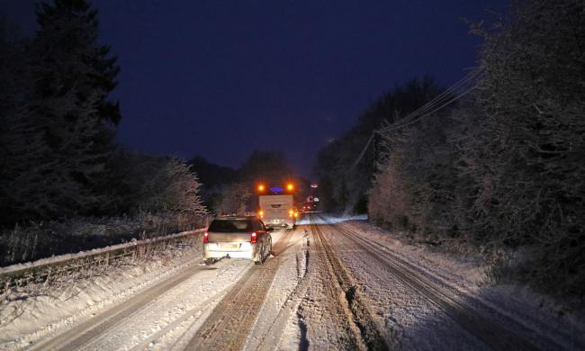 Cars stuck in the snow on the A303. Andrew Matthews/PA Wire