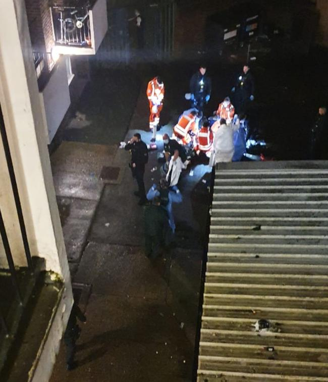 Handout photo from the scene of the stabbing, where a man was found on Wisbeach Road in Croydon. Image PA/PA Wire