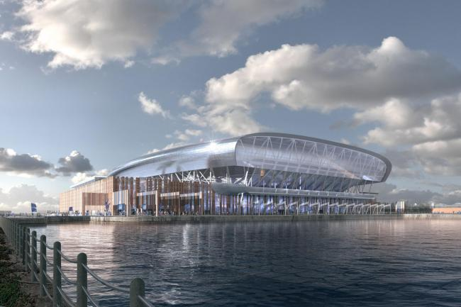 An artist's impression of Everton's new stadium at Bramley-Moore Dock