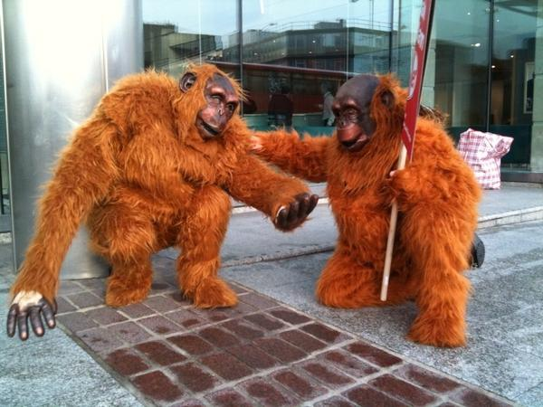 Greenpeace protestors dressed as Orang-utans outside the Nestle building
