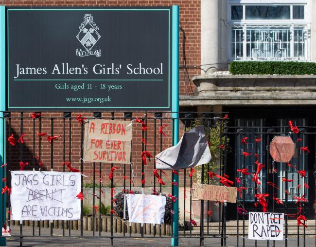 Signs outside James Allen's Girls' School, in south east London, in the aftermath of allegations of rape culture at a number of other independent schools. Dominic Lipinski/PA Wire