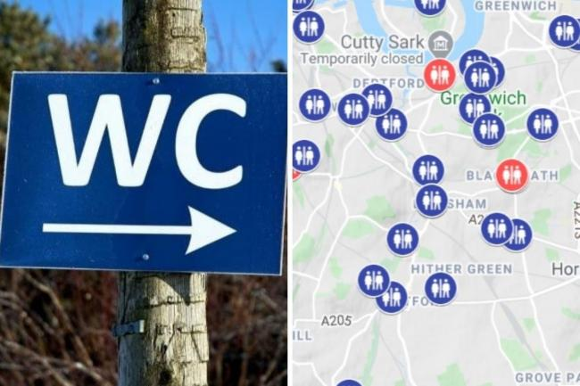 It features an interactive map with close to 3,000 public toilets listed