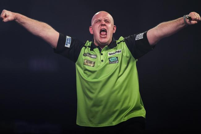 Michael Van Gerwen celebrates a win
