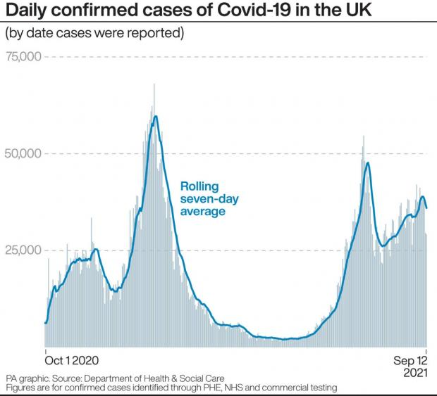 Your Local Guardian: Daily confirmed cases of Covid-19 in the UK (by date cases were reported). (PA)