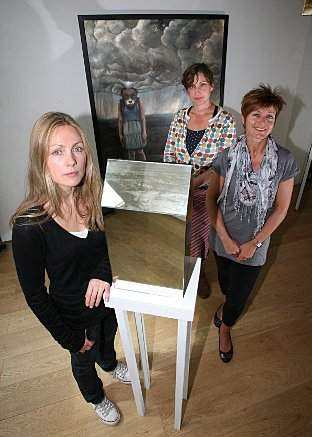 Artists Lisa Snook and Bobbie Russon with curator Ingrid Hinton