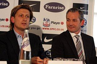 Looking for a new home: Steve Parish, left, with new manager George Burley