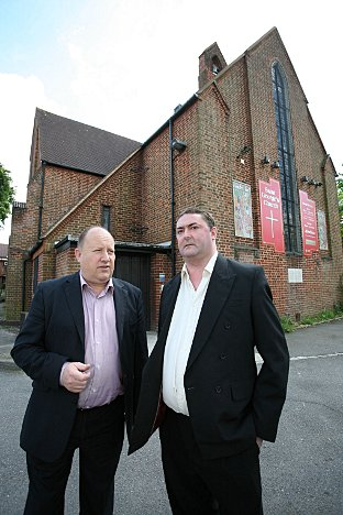 David Christison outside one of the Waddon polling stations with Labour group leader Tony Newman