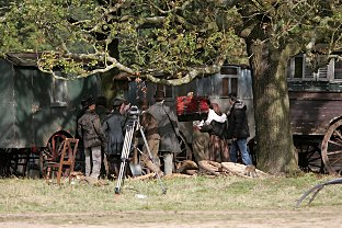 Movie set: Richmond Park transformed into gypsy camp as Sherlock Holmes sequel starring Robert Downey Jr. as Sherlock and Jude Law as Dr Watson is filmed
