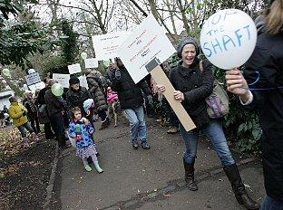 StopTheShaft members on a protest march in Barn Elms last year
