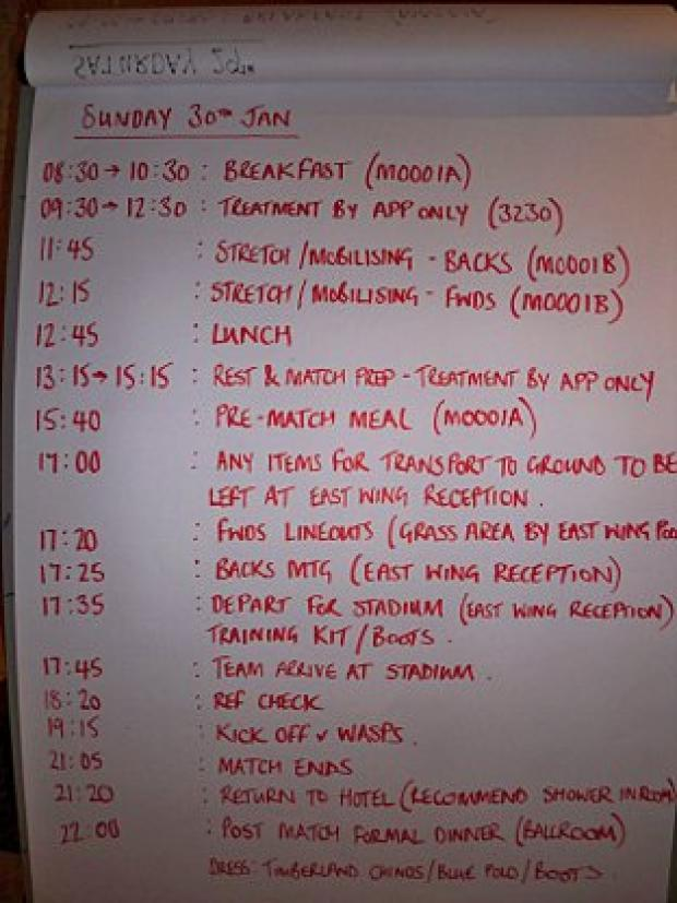 All mapped out: The Quins players are left with a busy timetable in the build up to Sunday's game.