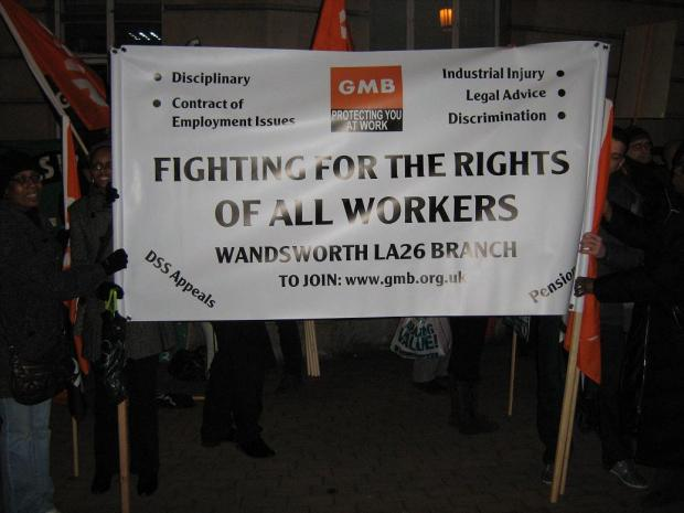 Protesters outside Wandsworth Town Hall