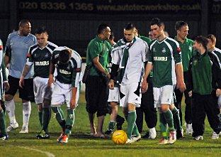 Your Local Guardian: Leatherhead's players' can't hide their disappointment. Deadlinepix Chris Gray SP57839-31