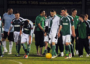 Leatherhead's players' can't hide their disappointment. Deadlinepix Chris Gray SP57839-31
