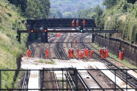 Pictures from the scene of a mudslide on a rail line in Croydon.